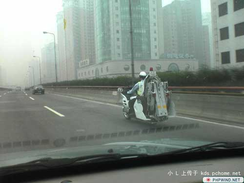 Bike tow truck on highway