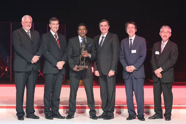 From Left - Calvyn Hamman, Senior Vice President of Sales and Marketing; Andrew Kirby, Executive Vice President; Danny Govender - Thekwini Toyota Durban; Dr Johan van Zyl, President and CEO; Yu Asano, General Manager Africa Division; and Hitoshi Muramoto, Executive Vice President and Chief Co-ordinating officer.