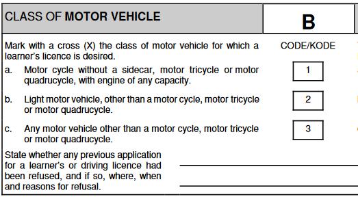 Class of motor vehicle