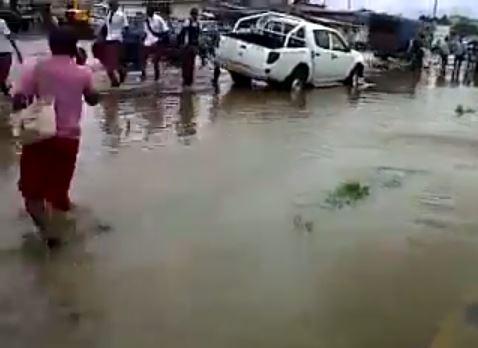Flooding pedestrian
