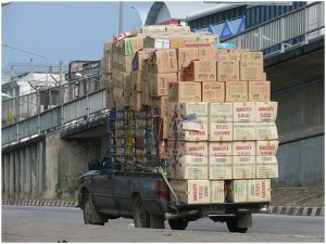 Overloading delivery bakkie