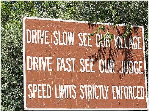 Speeding road sign