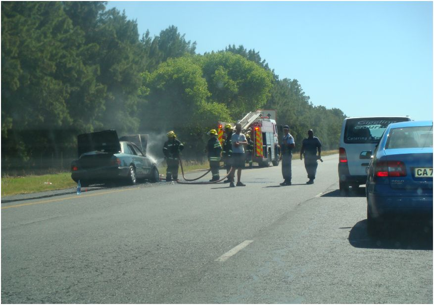 Engine fire on the N1 outside Bellville