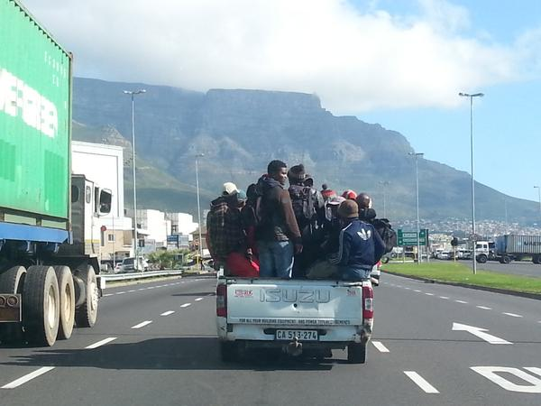 workers on bakkie